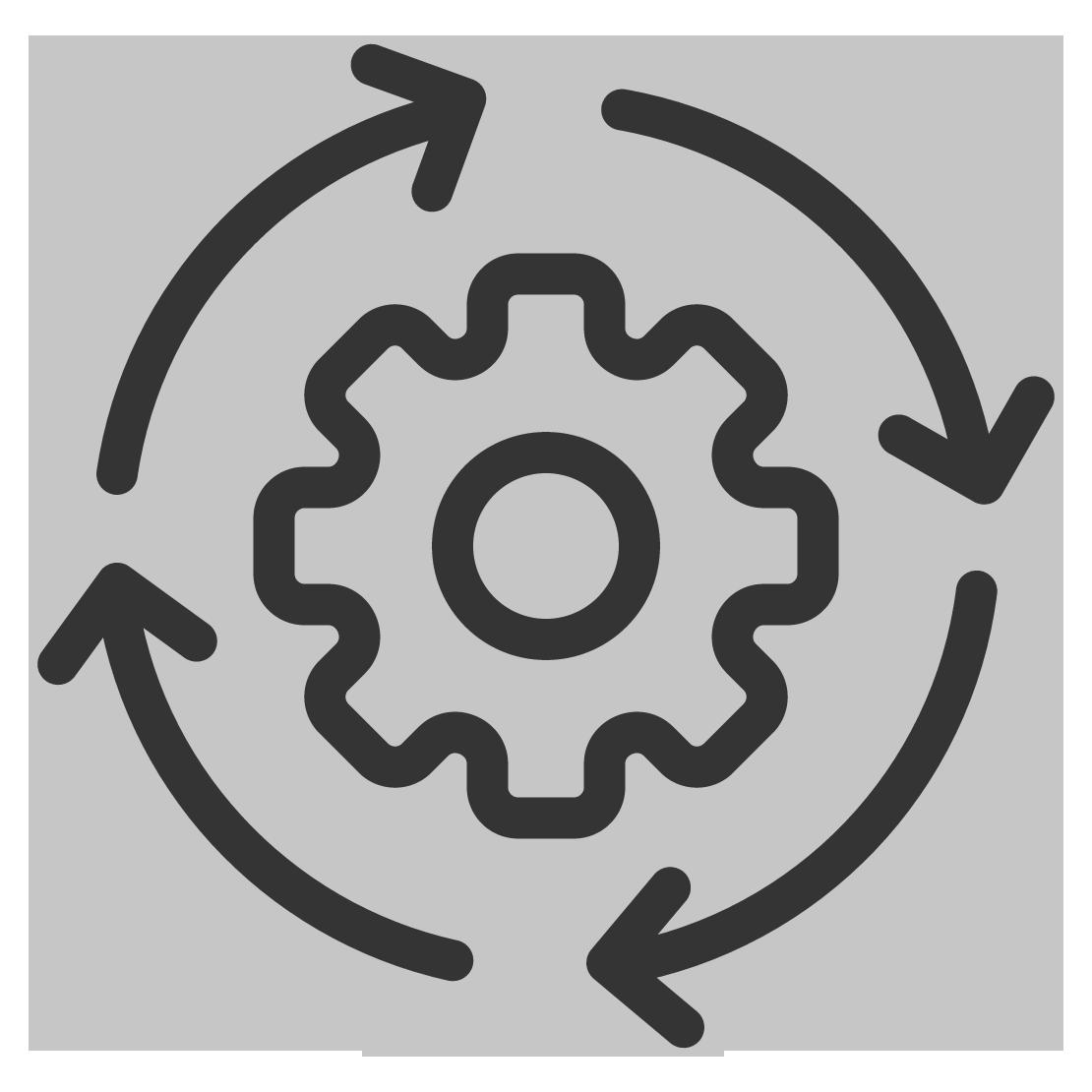 OTE GmbH-Zahnrad-runde Pfeil-Icon